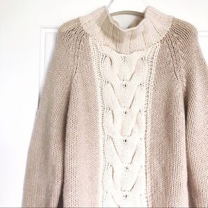 Boden Hand Knit Wool Blend Cable Sweater L Cream